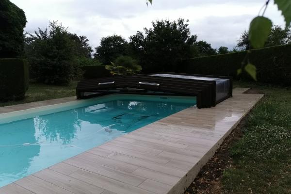 Abri de piscine télescopique motorisé  - Abrifab Sokool