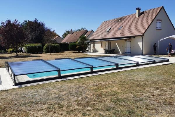 Abri de piscine télescopique Extra plat - Abrifab Sokool